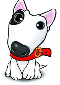 戴着红色项圈的可爱小狗PSD素材