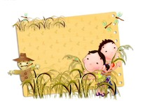 拾麦穗的可爱小孩和稻草人PSD素材下载 1428393