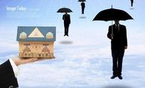 手托着房屋模型图和打伞的男士PSD素材