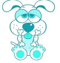 双手拿着骨头的可爱小狗PSD素材