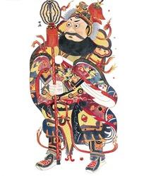 中国年画-双目圆瞪的长着络腮胡的神仙图片