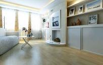 壁炉与展柜装饰的客厅3dmax模型