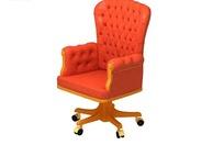 橙色双扶手舒适转椅