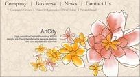 粉色背景花朵图案英语网站设计