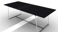 黑色桌面金属支架长形茶几