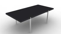 金属支架黑色桌面长形茶几