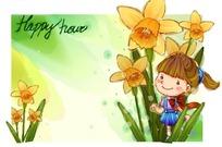 在黄色花朵里的小女孩
