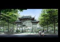 中国风古式公园门楼设计效果图