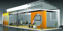长方体橙色展厅设计3D模型图