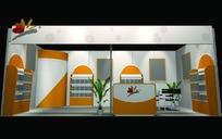 橙色蝴蝶标展厅设计3D模型图