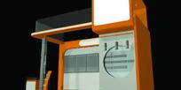 橙色简约造型展厅3D模型图