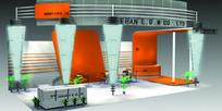橙色立体倒三角展厅设计3D模型图