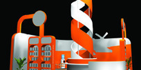 橙色螺旋式展厅设计3D模型图