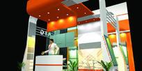 橙色温馨展厅设计3D模型图