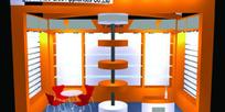 橙色现代展厅3D模型图