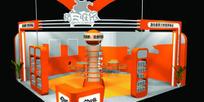 橙色系公司展厅3D模型图