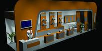 橙色圆弧型展厅设计3D模图