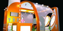 橙色帐篷式展厅3D模型图