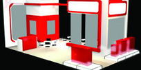 大红色展厅设计3D模型图