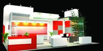 红白相间展厅设计3D模型图