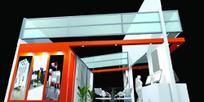 红橙色小展厅设计3D模图