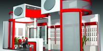 红灰色展厅设计3D模型图