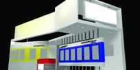 红绿兰展厅设计3D模型图