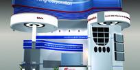 红紫相间展厅设计3D模型图