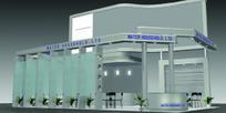 灰色玻璃展厅设计3D模型图