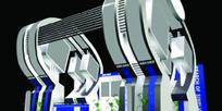 灰紫色玻璃展厅设计3D模型图