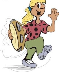 拿着铃鼓跳舞的小女孩