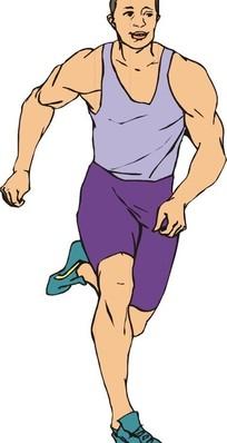 手绘跑步运动员矢量图_体育运动