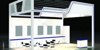 浅灰色玻璃展厅设计3D模型图