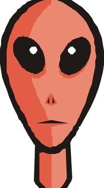 手绘褐色皮肤的外星人头部