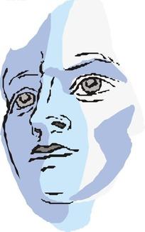 手绘蓝色皮肤的女性头部