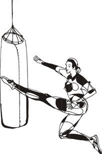 手绘用脚踢沙包的女人