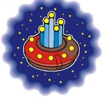 手绘宇宙中蛋糕状的飞船图片