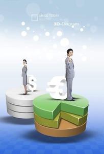 立体饼图上的商务男女PSD素材