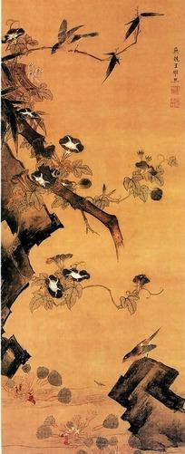 树枝上的牵牛花写意画图片