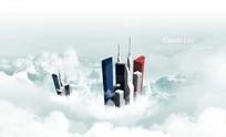 云层中的高楼大厦PSD素材