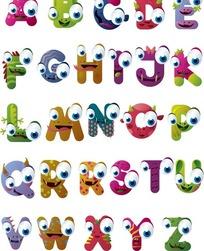 创意卡通动物英文字母矢量素材