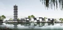 湖边的古典建筑和古塔