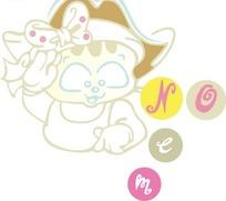 手绘戴着船长帽子敬礼的小猫