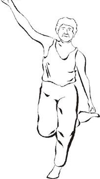 单腿站立的时尚女孩矢量图