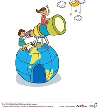 在地球仪上用天文望远镜的孩子