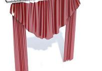对开圆角三角帘头窗帘模型