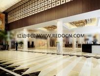 高级豪华中式酒店大堂3D3D效果图