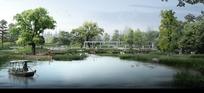 公园湖畔景观效果图设计
