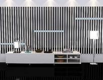 黑白竖条电视背景墙3D效果图