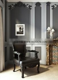 黑色经典软靠椅设计模型